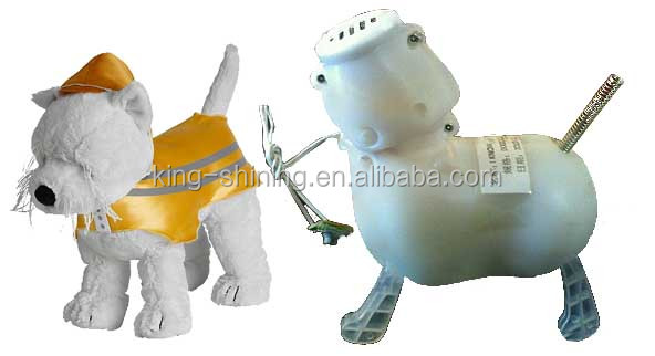Electronic walking and nodding dog with mouth moving and tail wagging, animated and battery operated stuffed animal plush toy