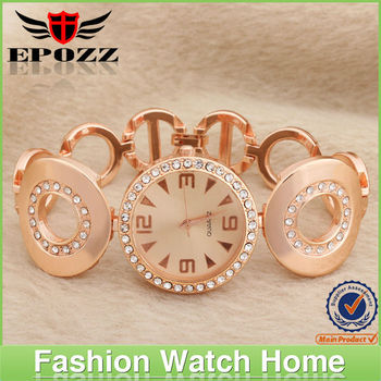 Luxury crystal diamond ladies watches alloy band Luxury crystal diamond ladies watches alloy band rose gold plating watch
