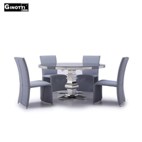 Stainless steel base round marble dining table