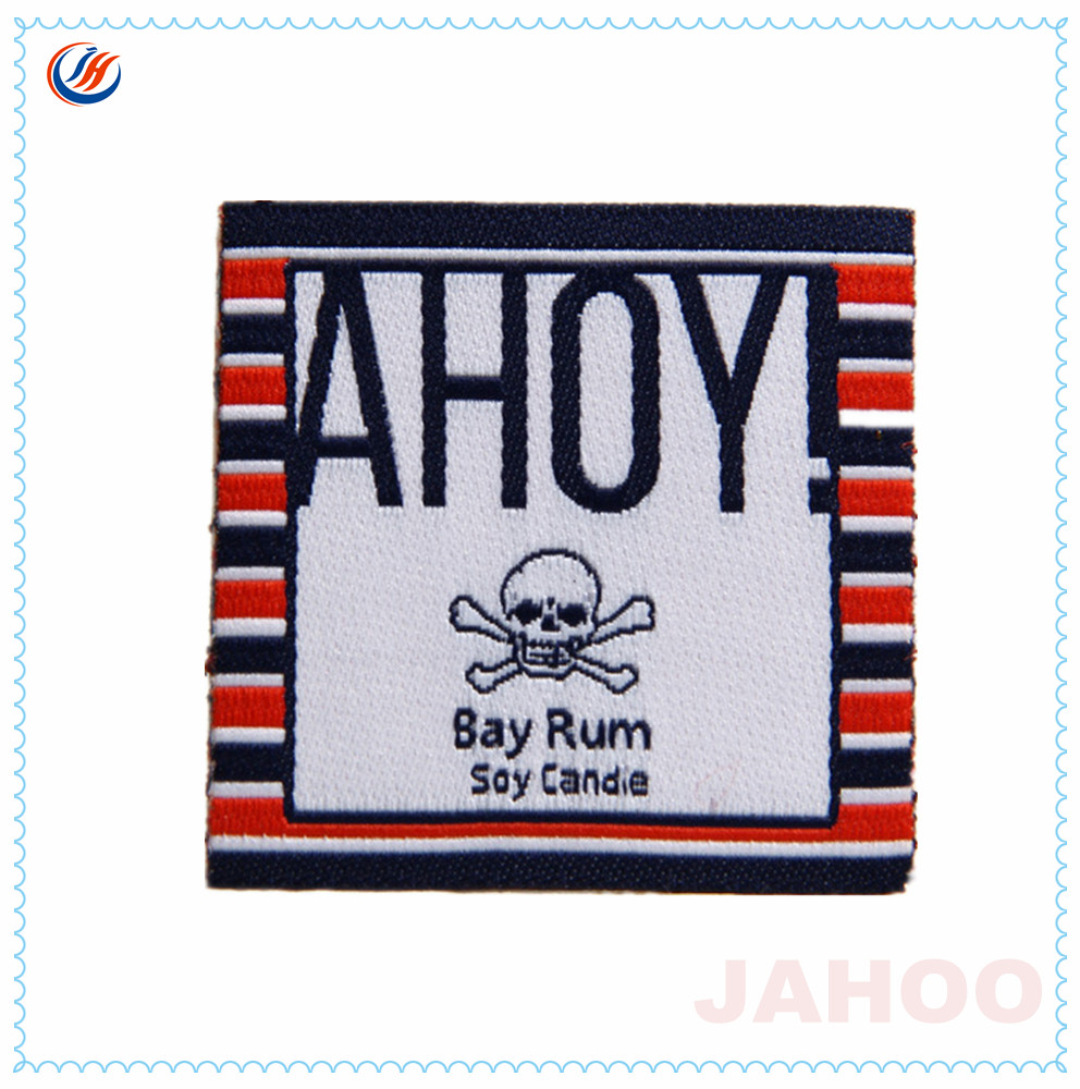 Customized Iron On Woven Label With Fashion Logo For Garment