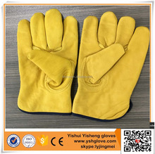 Yellow Color Cow Split Leather Working Gloves