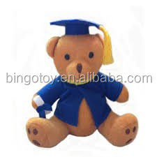 Hot selling custom stuff plush animal manufacturer make teddy bear graduation plush toy