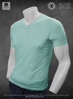 100% Organic eco friendly Peru pima cotton 100% certified V neck blank t-shirt