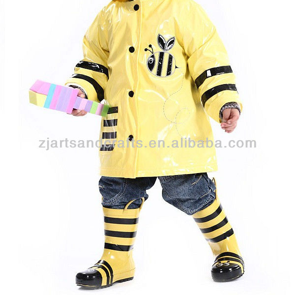 Cute kids mouse rubber rain boots with handle