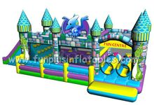 Commercial inflatable combo bouncers/inflatable castle slide F3014
