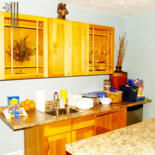 Wholesale honey unfinished red oak solid wood kitchen cabinets