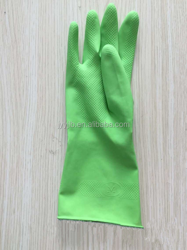 Green Latex Household Rubber Cotton Lined Gloves