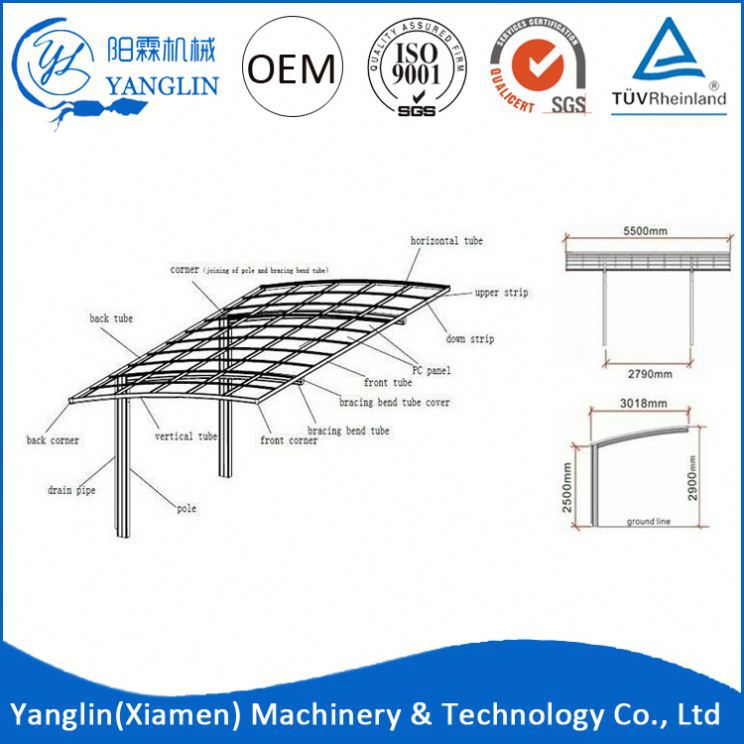 2 Car Metal Carport Steel Frame Parts