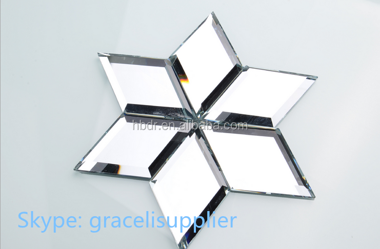 Rhombus / Diamond Beveled silver mirror title for KTV / hotel / home decorative