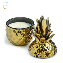 Custom Popular Home Decorative White and Gold Pineapple Ceramic Candle jar