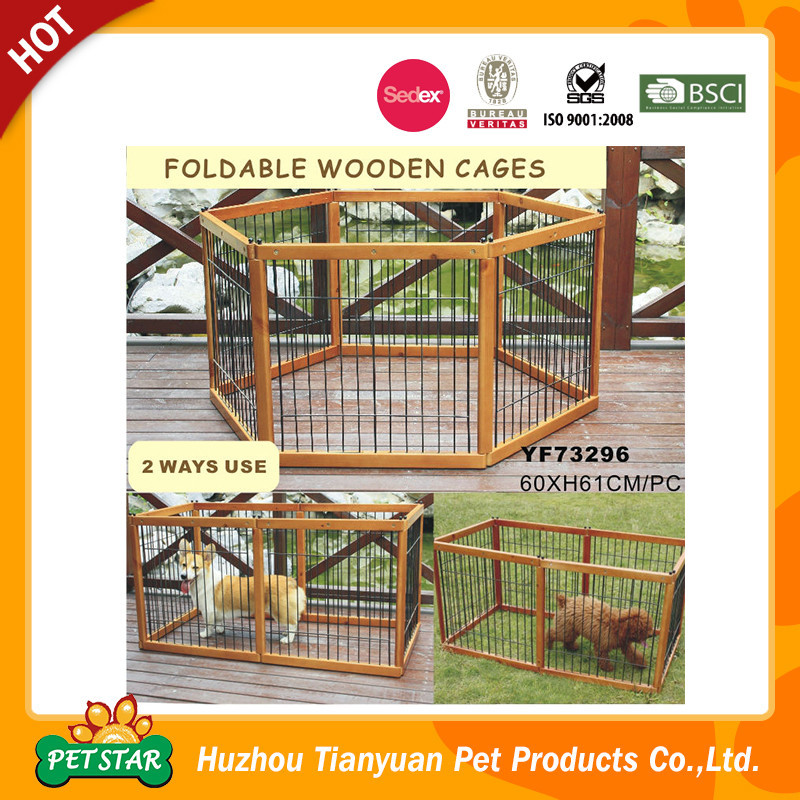 Foldable Wooden Frame Stainless Steel Pet Cage/Dog Cages/ Cat Cages
