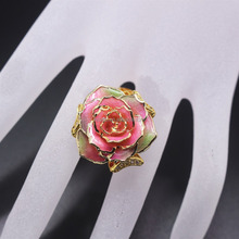 wedding ring pink natural rose dipped 24k gold flower ring