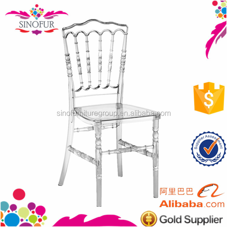 wholesale crystal transparent french plastic resin napoleon chair