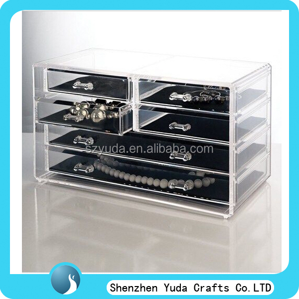 manufactory clear rectangle custom acrylic jewellery box with compartments