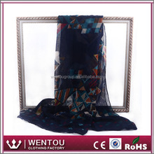 Spring summer fashion lady 100% polyester voile print usa made scarfs