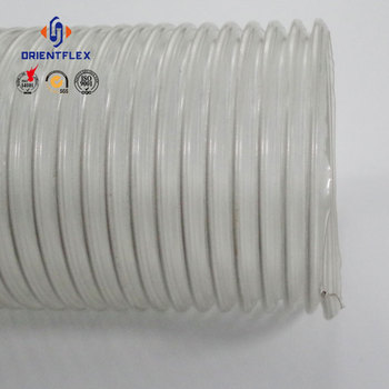 "Flexible fiber spiral transparent steel wire 1/4""-8"" inch clear reinforced flexible pvc duct hose"