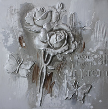 Single Panel Flower Rose 3D Sculpture Handmade Beautiful Scenery Oil Painting on Canvas Interior Decoration Squre Size RA0263