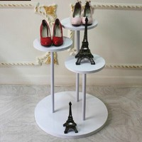 modern wooden metal display stand for shoes store floor stand for shopping mall
