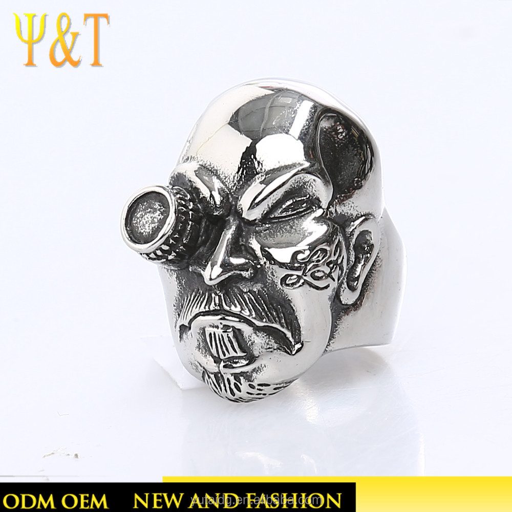 Jingli jewelry High quality stainless steel hip hop men large sugar skull rings for men