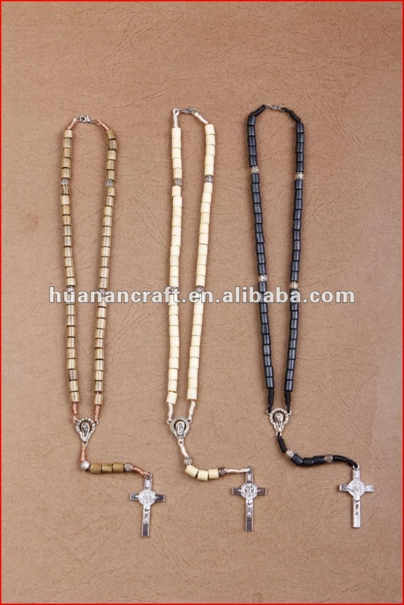 religious rosary crucifix cross statue keychain pendant wooden beads souvenir cute handle shop bags