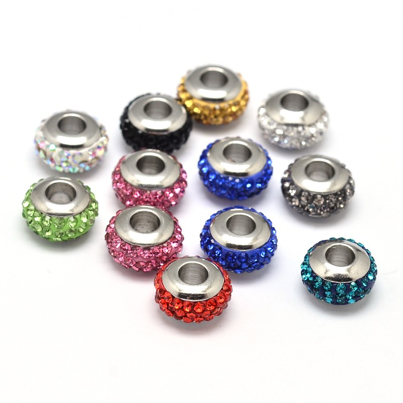 PandaHall Rondelle 304 Stainless Steel Polymer Clay Rhinestone European Beads with Double Side Platinum Color Core