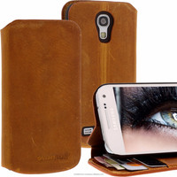 Geniune Leather Lucca Bookstyle case for Samsung Galaxy S4 Mini i9190 i9195 Antic Cognac Brown Cow Leather
