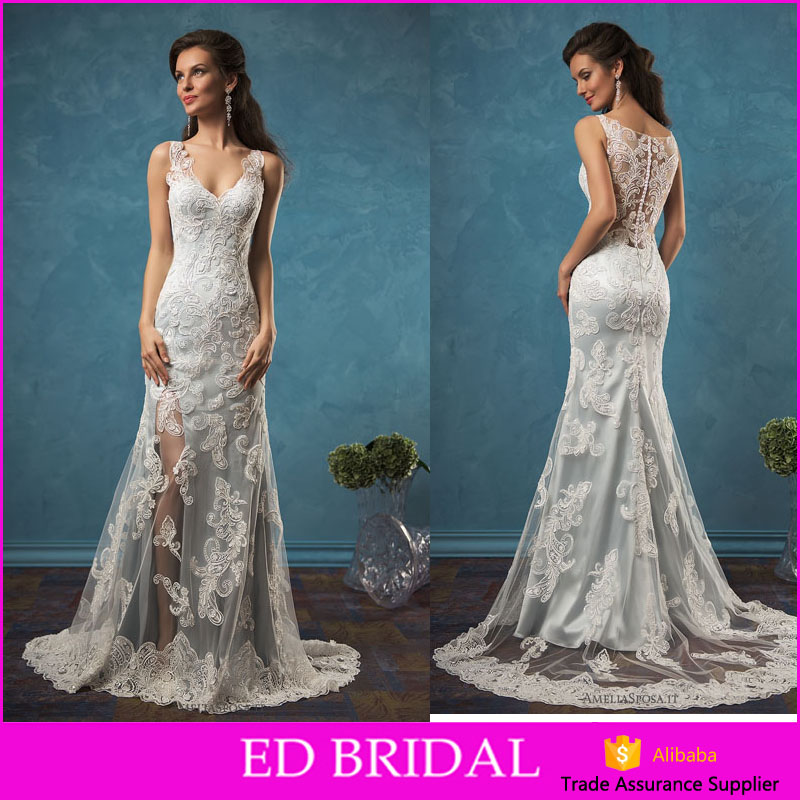 LN439 See through back lace appliqued high slit sexy bridal gown blue wedding dress