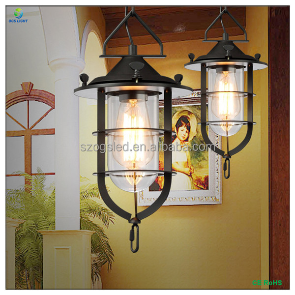E27 110 / 240V Contemporary Retro Pendant Lamp / Light with Black Iron Cage and Handmade Chain Hanging for Indoor Decor