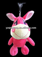 Small widget soft plush pink donkey toy with big smile toy