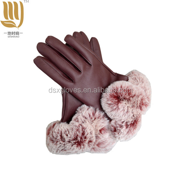 Wholesale PU Leather Gloves Sexy Women Leather Gloves With Fur