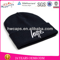 Embroidery logo beanies hats /winter knitted black ski mask hat knitting pattern