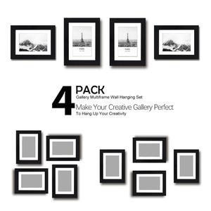 Black Plain Pack 4 Photo Picture Frame Matted Display Photo with Customized Mats Sizes