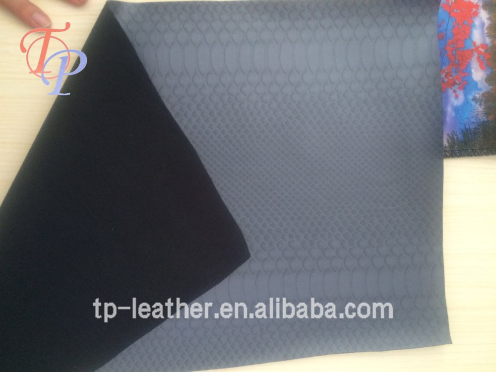 PU/PVC Paint Snake Skin Synthetic Leather Nonwoven Fabric