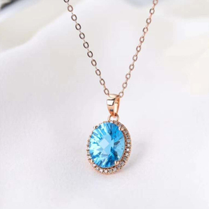 18k gold South Africa real diamond natural topaz pendant for women blue topaz gemstone jewelry