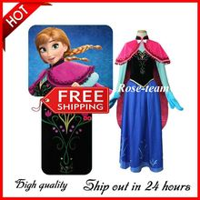 Free shipping 2014 New arrival High quality Deluxe Embroidery Frozen Princess Anna Dress Cosume Movie Cosplay Costume For Adult