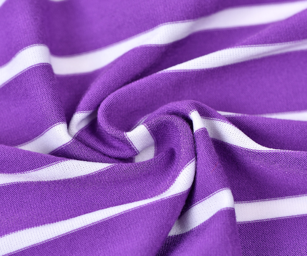 Striped knitted textile organic jersey fabric made from rayon spandex and milk silk yarn for T-shirts