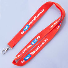 2015 cheap polyester lanyard with silk screen printing logo