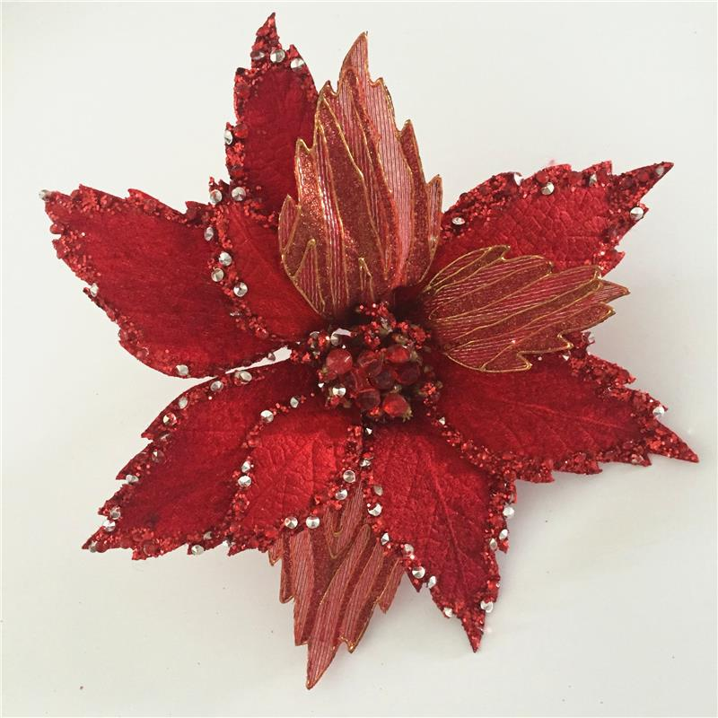 Artificial flower poinsettia stem for Christmas decoration