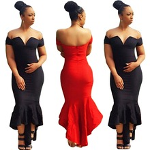 F20411A European style dress new fashion ladies dress off shoulder ladies evening dress for women