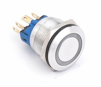 ce ul 22mm anti vadal stainless steel ring led illuminated momentary latching push button switch