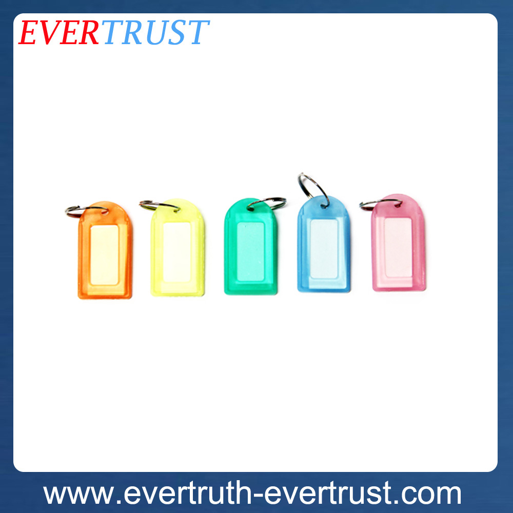 promotional cheap custom plastic key tag with keyring