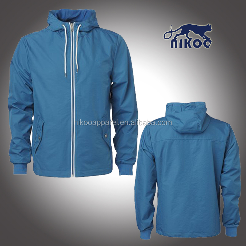 Custom Quality Plain Zipper-up Hooded Windbreaker Jackets for Men Tracksuit Jacket