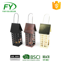 ML-2093 Mini Cute copper or brass color tabletop metal house lantern