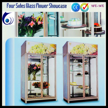 Cake Display cooler/ Four Sides Glass Flower Showcase with Good Design