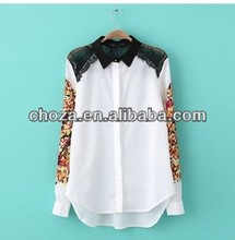 C60731A 2013 THE LATEST FASHION WINTER DESIGN FOR GIRL'S CASUAL PRINTED BLOUSE