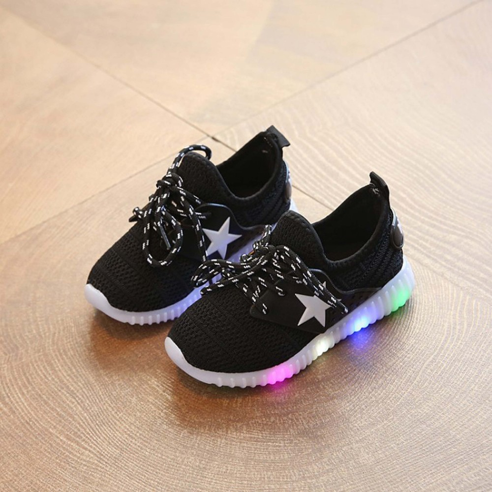 2017 new style customized breathable lace-up kids LED light up sport running shoes sneaker