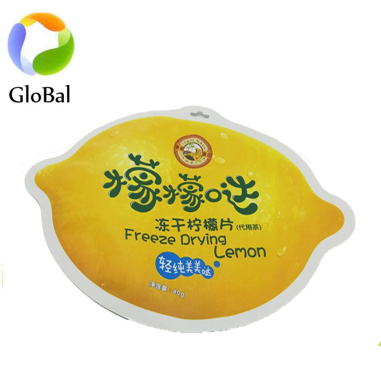 High Quality Tear Notch freeze drying lemon packaging bags/ baby food cute free shaped pouch