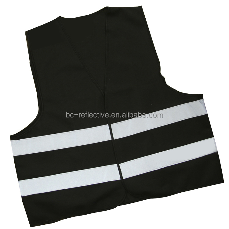 black EN471 reflective safety vest