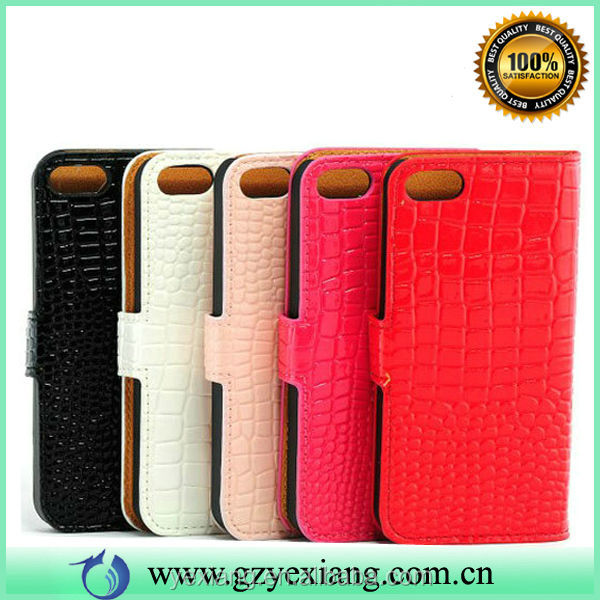 PU Leather Flip Wallet Battery Case Cover For Iphone 5S