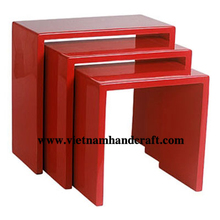 Eco-friendly hand lacquer finished vietnamese lacquered home furniture in solid red
